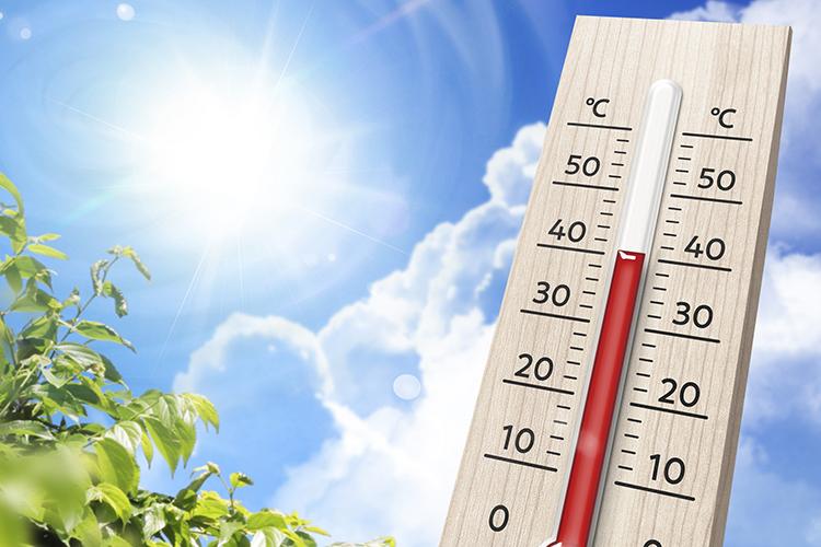 照りつける太陽と温度計